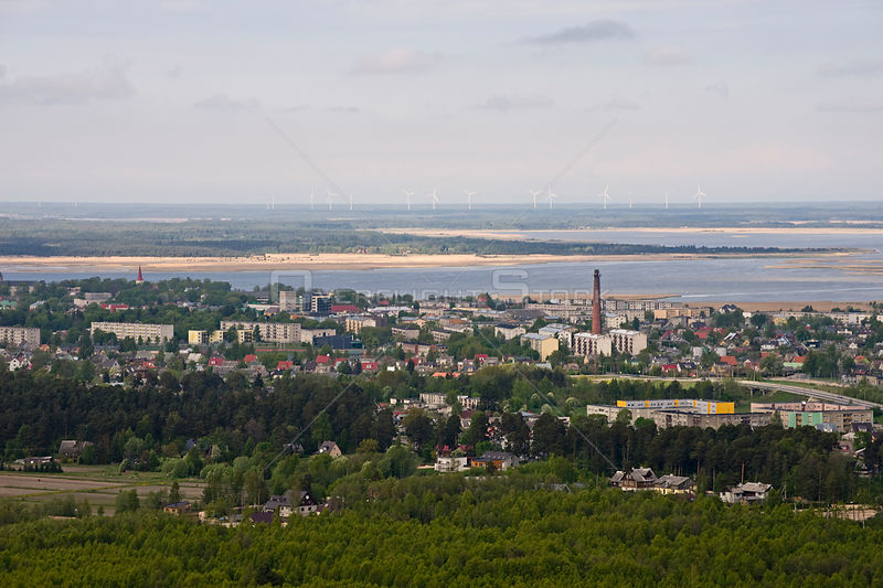 Aerial view of Haapsalu, with off shore wind farm, Estonia