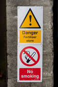 Warning sign on a fertiliser store at a farm in West Yorkshire, UK.