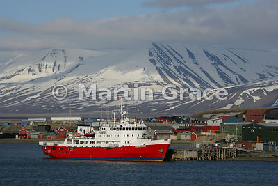 MS Nordsyssel (now called Polar Surveyor), a research/survey vessel, moored at Longyearbyen, Adventfjorden, Nordenskiold Land, Spitsbergen, Svalbard