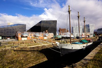 Old Sailing Ship in Canning Graving Dock with the Old Great Western Railway Warehouse Behind