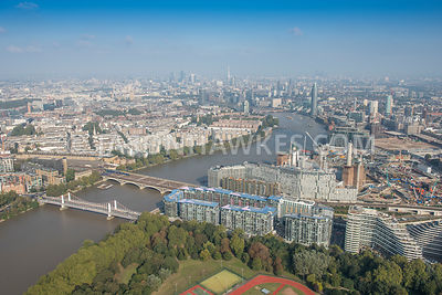 Aerial view of London, Chelsea Bridge and Chelsea Bridge Wharf.