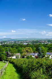 View across Corntown looking towards Bridgend, South Wales, UK.