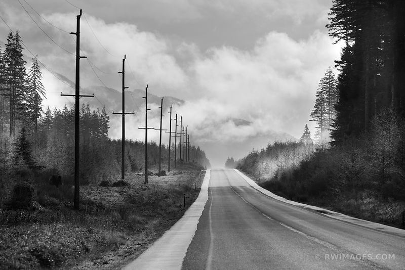 OLYMPIC HIGHWAY 101 OLYMPIC NATIONAL PARK BLACK AND WHITE