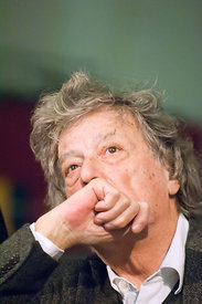 Tom Stoppard at a press conference with members of the Belarus Free Theatre of Minsk in Rome.