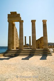 4th century BC temple of athena on the acropolis, lindos, rhodes, Greece.
