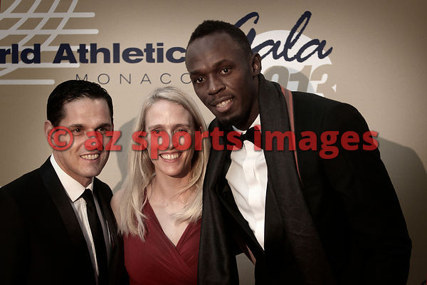 Agents Ricky Simms, Marion Steininger and Usain Bolt