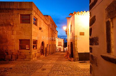 The medieval walled city of Miranda do Douro at twilight. Trás-os-Montes, Portugal