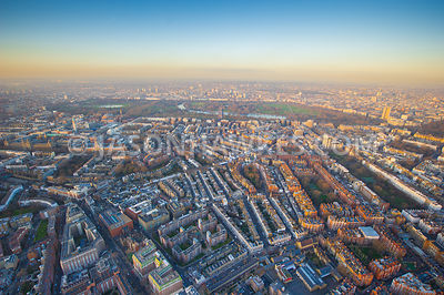 Belgravia and Knightsbridge aerial view, London.