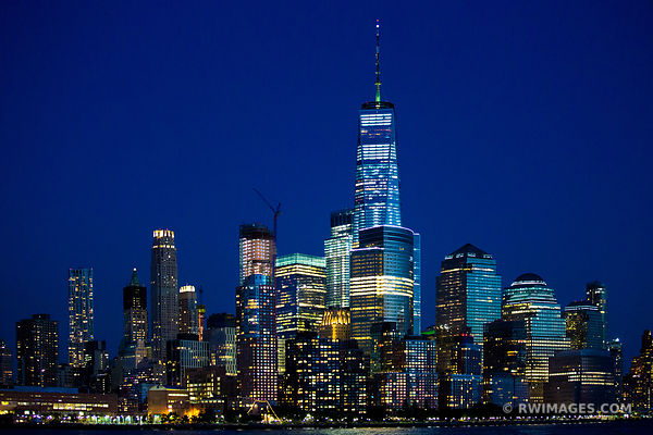 BLUE HOUR MANHATTAN NIGHT CITY LIGHTS FREEDOM TOWER NEW YORK CITY NEW YORK COLOR