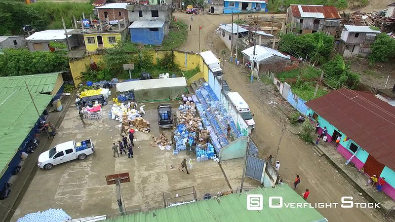 April 16, 2016  Chamanga, Ecuador Earthquake Damage. Fresh Water and Suppies Aid Relief.