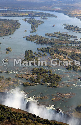 Victoria Falls (Mosi-oa-Tunya) from the air, looking north, mostly Zambia