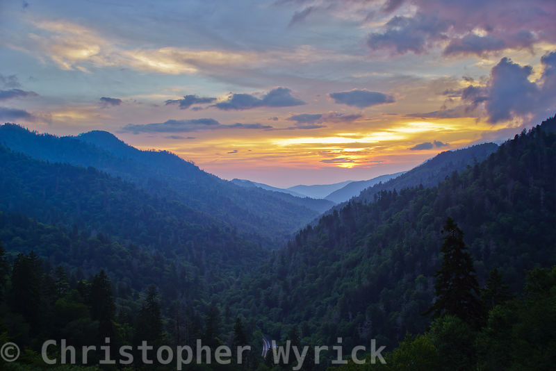 Spectacular sunset looking down the West Prong Little Pigeon river valley between Mount LeConte and Sugerland Mountain.  Without a doubt this is one of my favorites.  The view of the setting sun and dark clouds over these most ancient of mountains leaves me feeling blessed to be alive.
