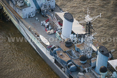 Aerial view of HMS Belfast, Thames, London