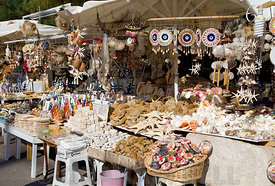 Tourist shop selling various items made from sea creatures, Bodrum, Turkey, Asia.
