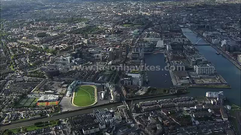 Aerial footage of Dublin, Ireland.