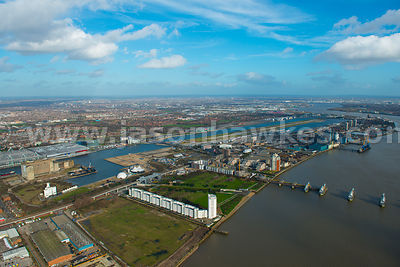 Aerial of the The Royal Docks, East London