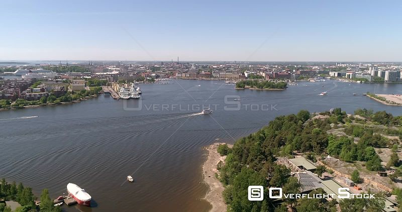 Ferry Infront of a City, Aerial View Towards a Boat, Outside Korkeasaari Island, on a Sunny Summer Day, in Helsinki, Uusimaa, Finland