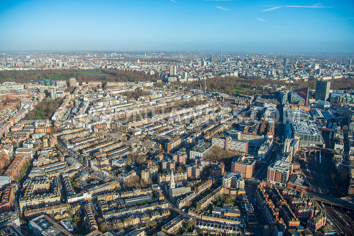 Aerial view of London, Chelsea and Belgravia with Cadogan Place and Eaton Square towards Buckingham Palace.