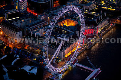Aerial view over the London Eye at night