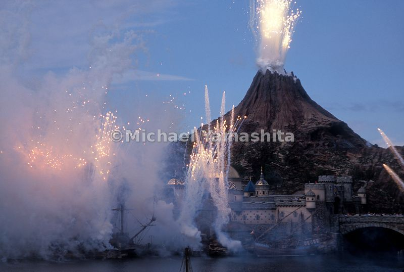 The grand opening of Disney Sea Park in Urayasu, Japan.  Complete with pirate ship battle and erupting volcano.