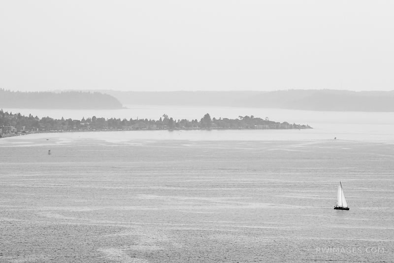SAILBOAT ON PUGET SOUND SEATTLE WASHINGTON BLACK AND WHITE