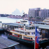 View from ferry terminal of Sydney harbor, Sydney, New South Wales, Australia