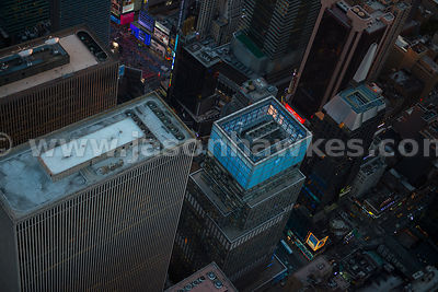 Close up aerial view of buildings in Midtown Manhattan, also showing Times Square