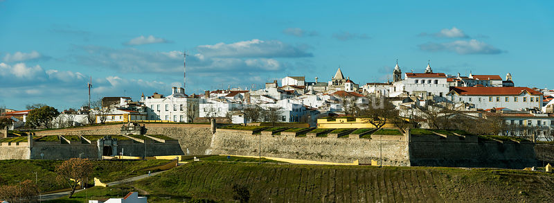 The city of Elvas and his 17th century fortifications, the biggest city bulwark fortifications in the world. A UNESCO World Heritage Site. Alentejo, Portugal