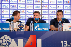 Raul Gonzales and Sergey Bebeshko and Vid Poteko  at the opening press conference during the Final Tournament - Final Four - SEHA - Gazprom league, Skopje, 12.04.2018, Mandatory Credit ©SEHA/ Uros Hocevar