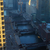 Elevated view looking west of Wacker Drive, Chicago River and bridges with morning light, Chicago, Illinois, USA