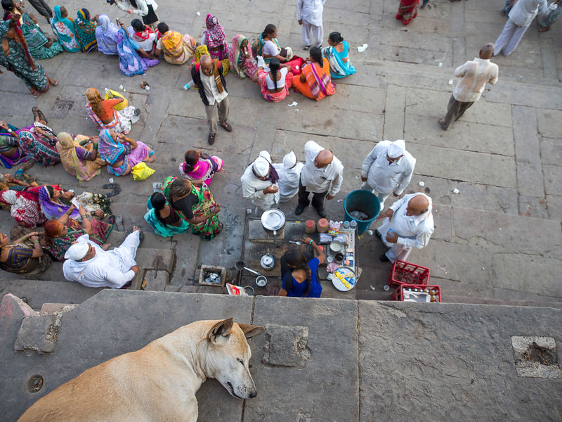 A dog sleeps regardless the hustle -bustle on the the streets of Varanasi.