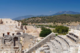 Remains of the Amphitheatre, Ancient Lycian City of Patara, near Kalkan, Lycian Coast, near Kas, Turkey, Asia.