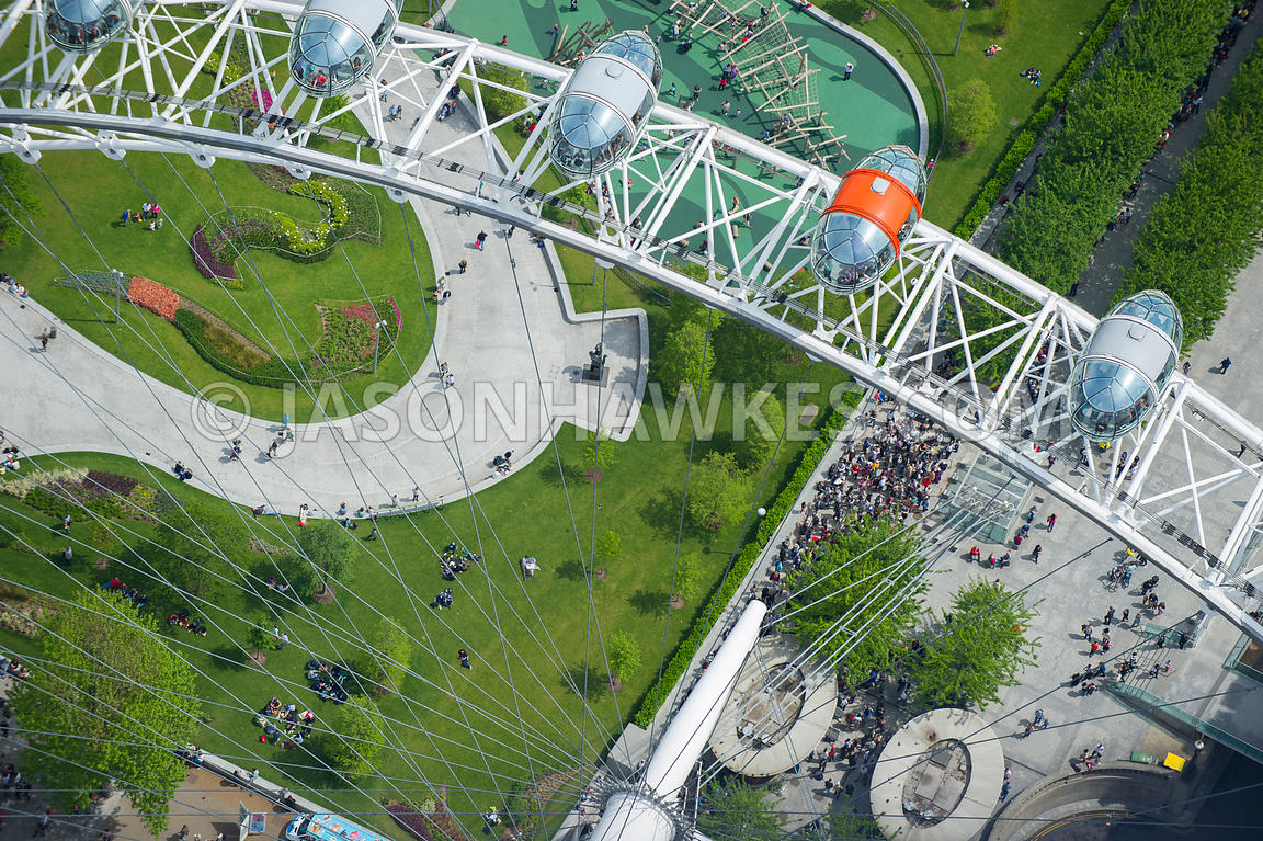 Close up aerial view of the London Eye