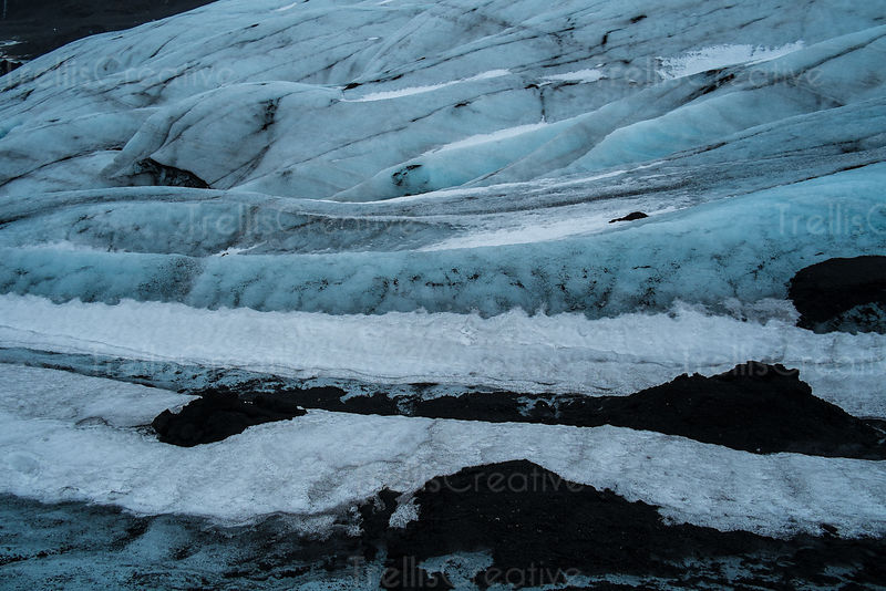 A detailed photo of the Solheimajokull glacier in Iceland