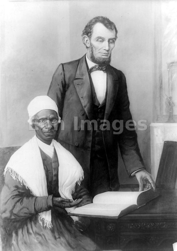 Abraham Lincoln poses with Sojourner Truth