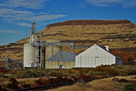 Grain elevator on Columbia River in eastern Washington