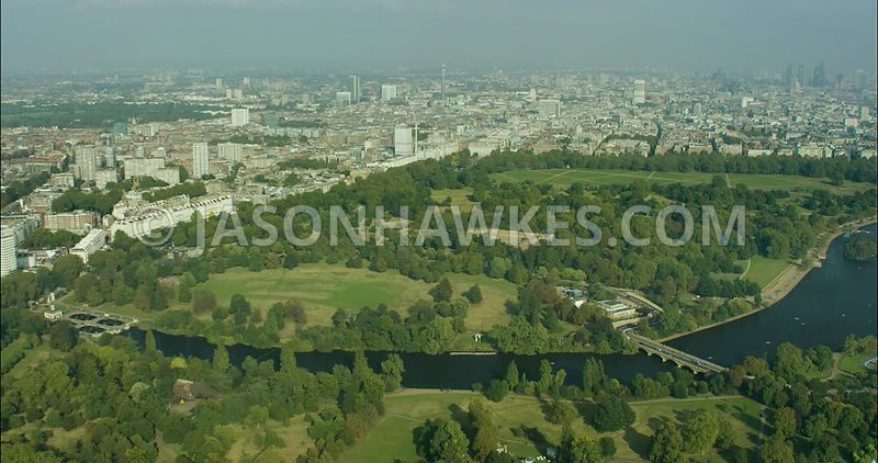 London Aerial Footage of Hyde Park and Bayswater.