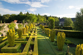 Parkhead. Elevated view of topiary in formal walled garden