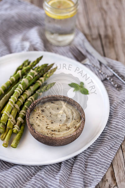 Steamed Asparagus served with White Bean and Artichoke Aioli Dip