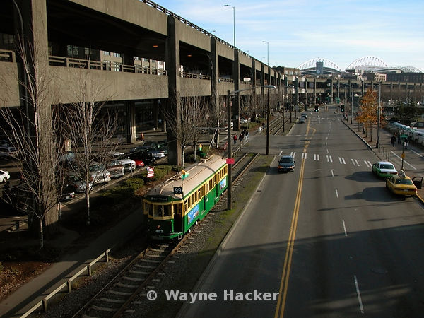 Street car makes it's way along side the Alaskan Way Viaduct in Seattle, Wa. 2004