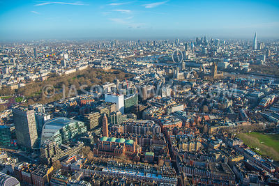 Aerial view of London, Cardinal Place, Victoria with St James's Park and River Thames.