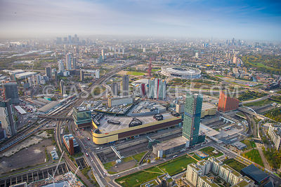 Aerial view of Queen Elizabeth Olympic Park, Statford.