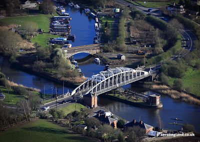 aerial photograph of Acton Bridge Swingbridge, Cheshire England.