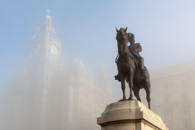 Edward the 7th and the Royal Liver Building in the Fog Ref:Liv-6521