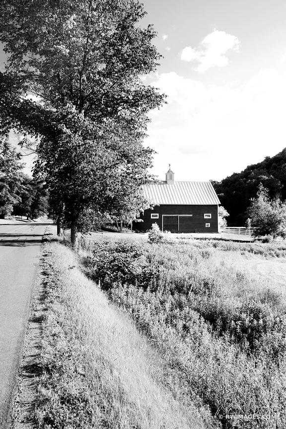 COUNTRY ROAD AND A BARN IN SUMMER VERMONT BLACK AND WHITE