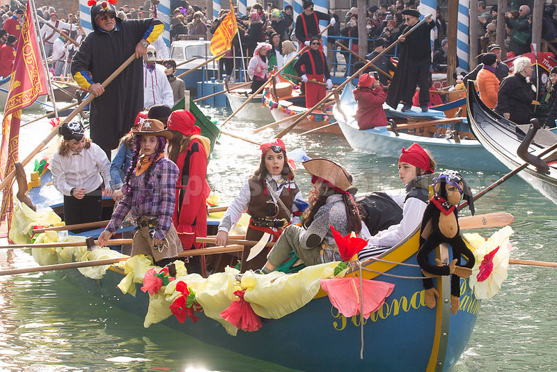 Children in Pirate Costumes in the Venice Carnival Water Parade  on the Rio di Cannaregio Canal