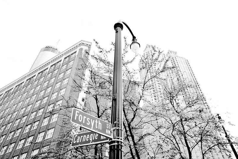 FORSYTH AND CARNEGIE STREET DOWNTOWN ATLANTA GEORGIA BLACK AND WHITE