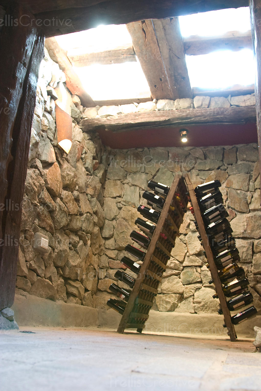 A riddilng rack filled with wine bottles in a wine cellar