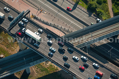 Aerial view of traffic on road bridge