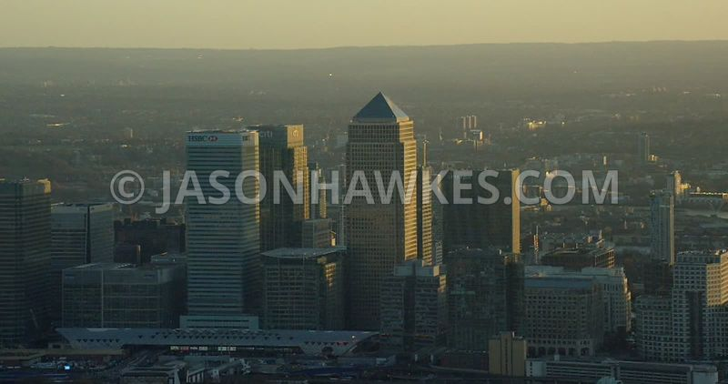 Aerial footage of Canary Wharf